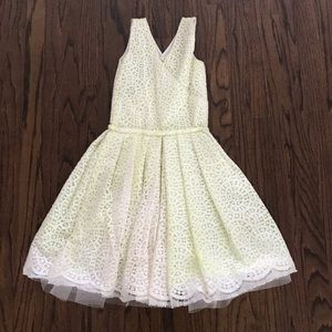 Bonnie Young Designer Neon Yellow + Lace Dress